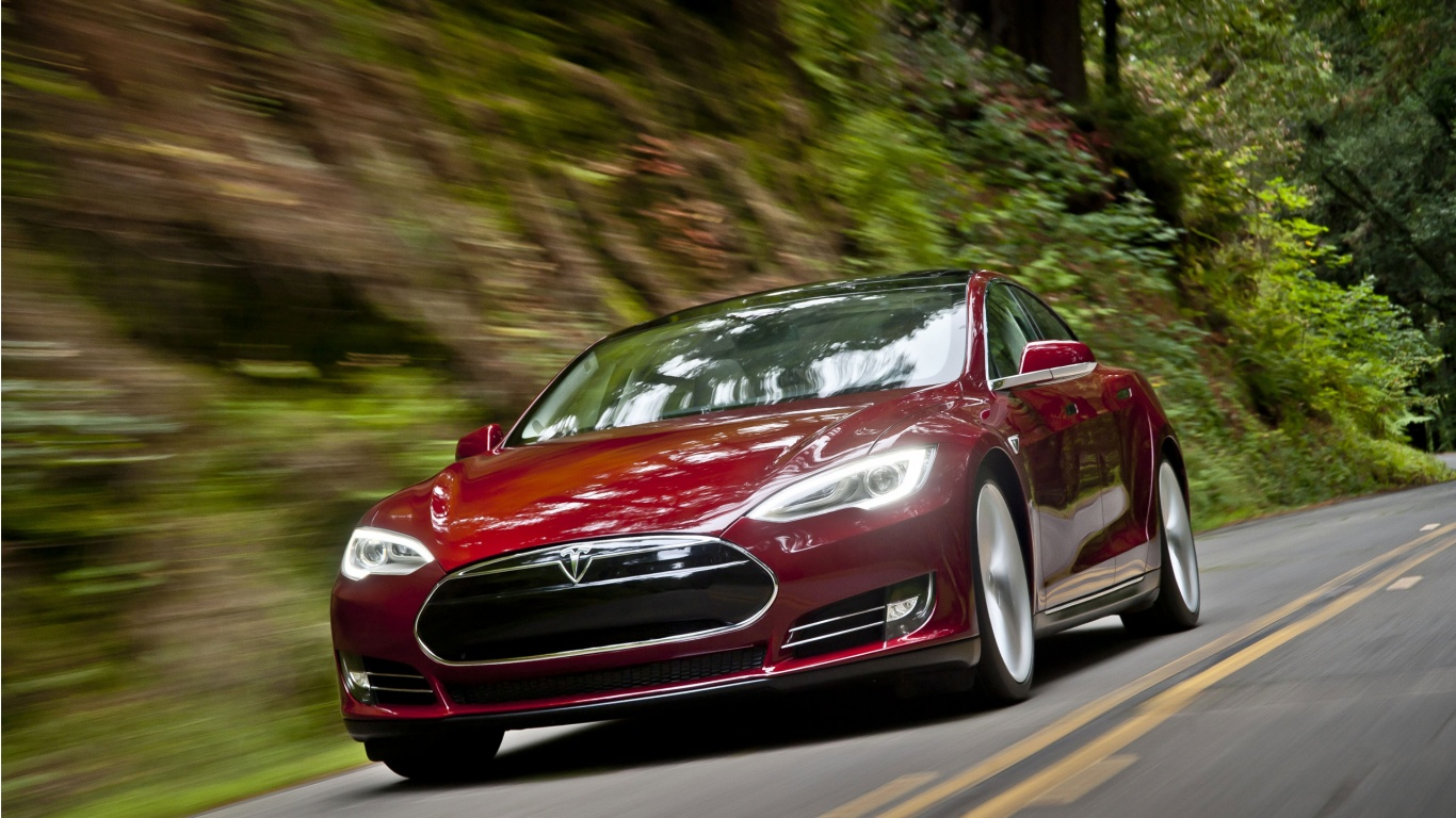 tesla model s in action