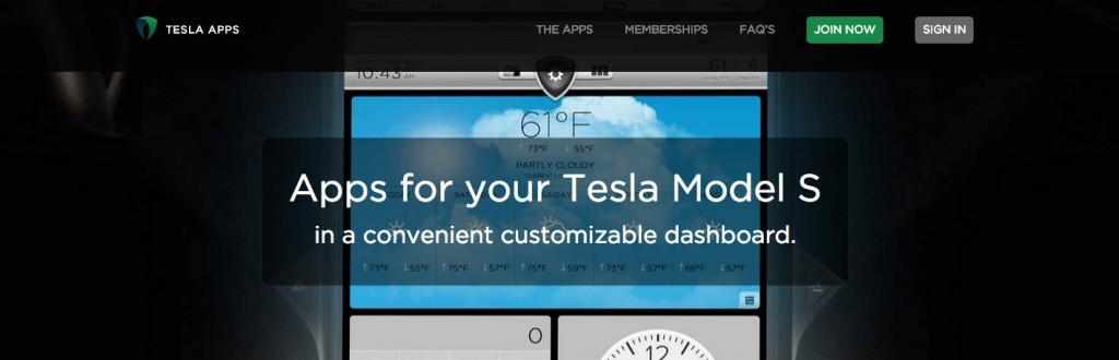 The home page of Tesla Apps. (Source: Tesla Apps)