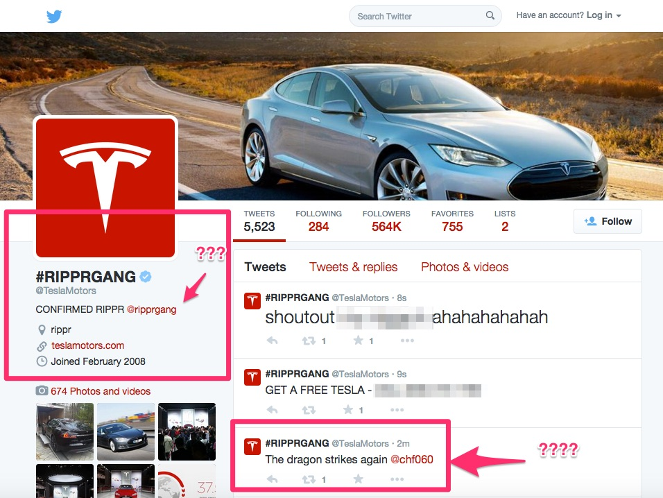 Tesla Motors Twitter account hacked