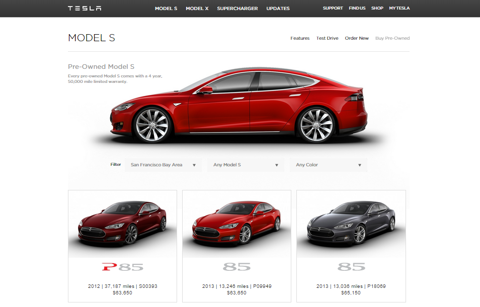 Tesla now has a certified pre-owned page on its company website