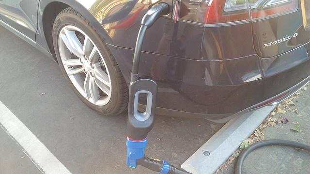 Tesla-Model-S-CHAdeMO-Adapter-Plugged-In