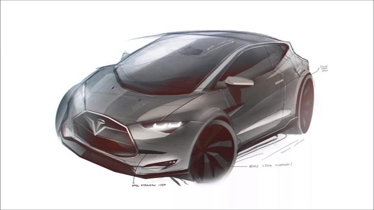 Tesla Model 3 compact rendition
