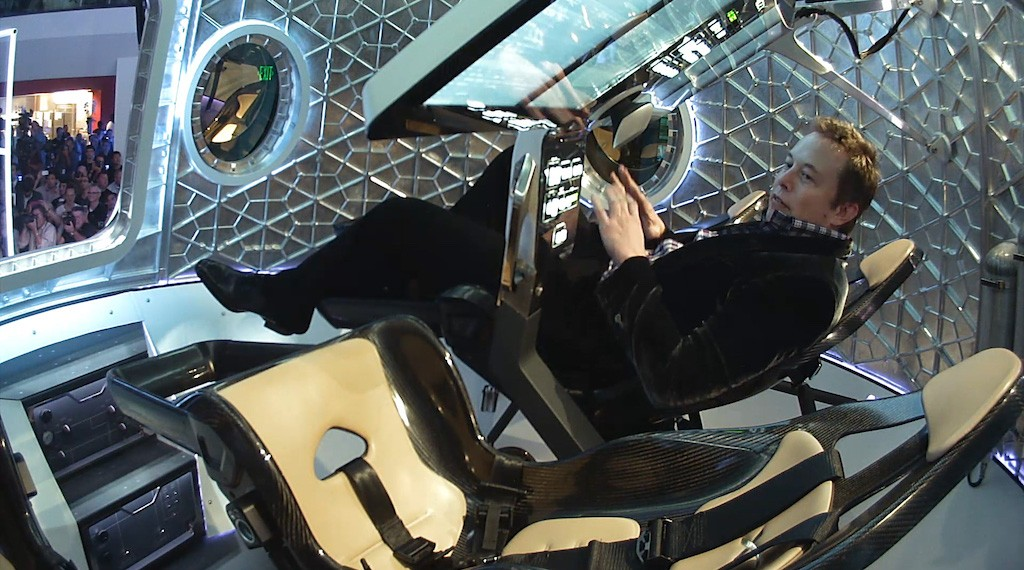 SpaceX CEO Elon Musk inside the Dragon V2 [Source: SpaceX]