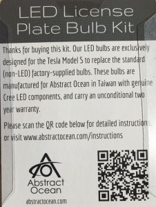 LED License Plate Bulb Kit for the Tesla Model S