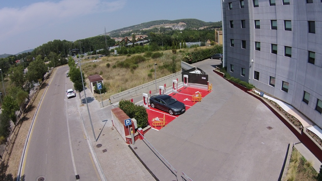 Tesla Supercharger in Girona, Spain