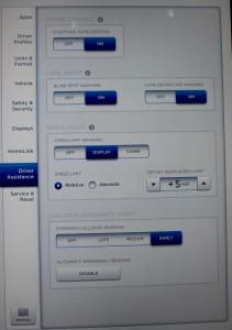 Autopilot menu on Tesla Model S