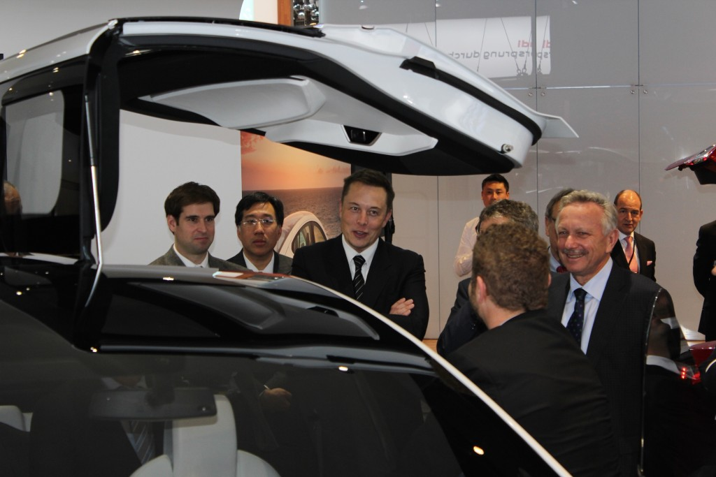 Elon Musk Debuts the Tesla Model X at 2013 Detroit Auto Show [Source: 'chriSharek' via email submission]