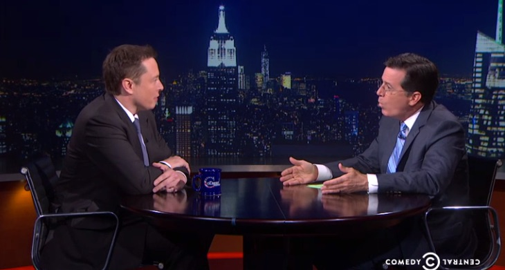 Stephen Colbert interviews Tesla CEO Elon Musk on Comedy Central's Colbert Report [Source: Comedy Central]