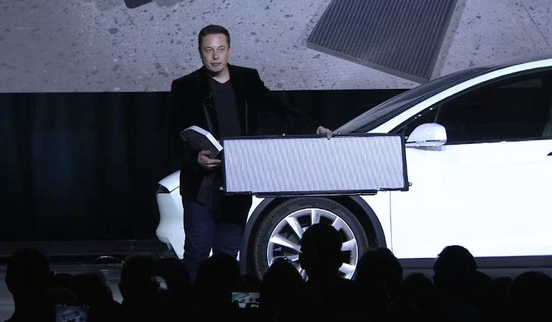 Elon Musk showcases enormity of Model X air filter