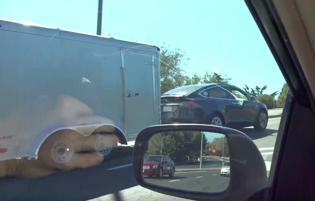 Tesla Model X Towing Cargo Trailer