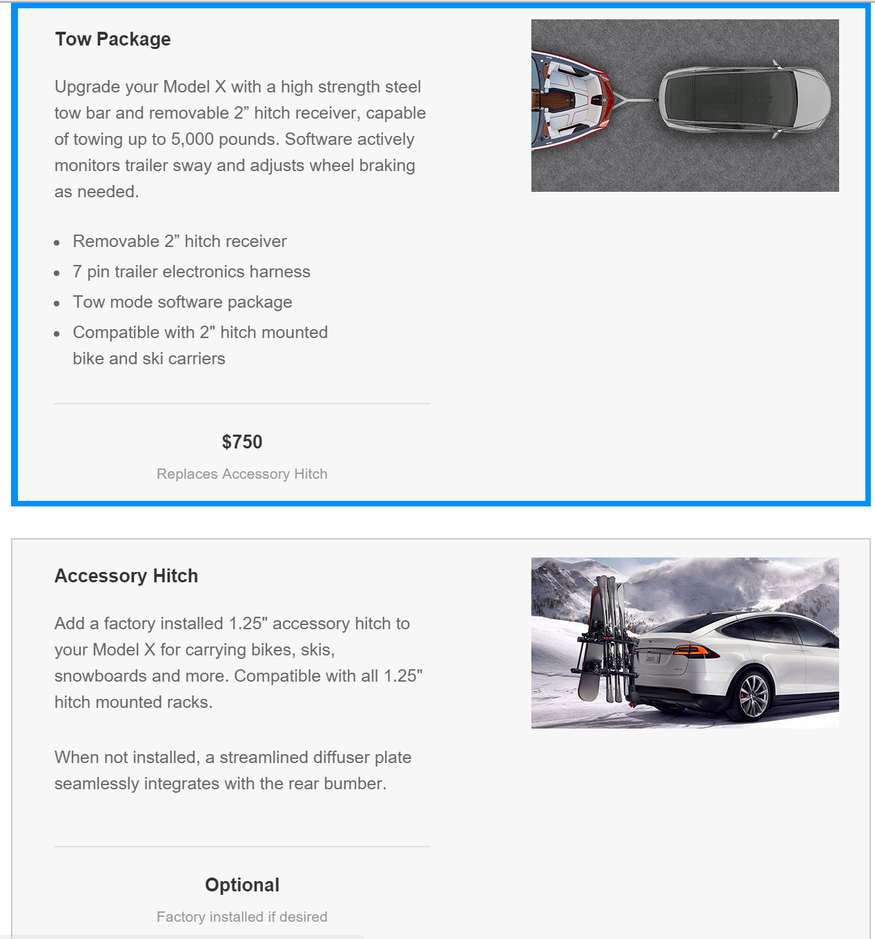Model X tow packages