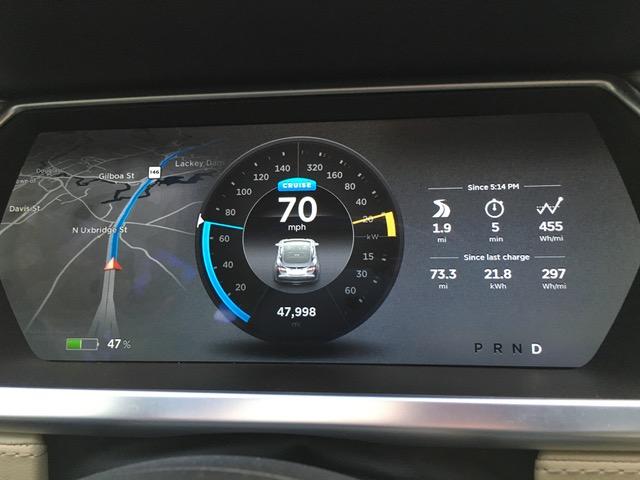 Version 7.0 dashboard display for non-autopilot Model S