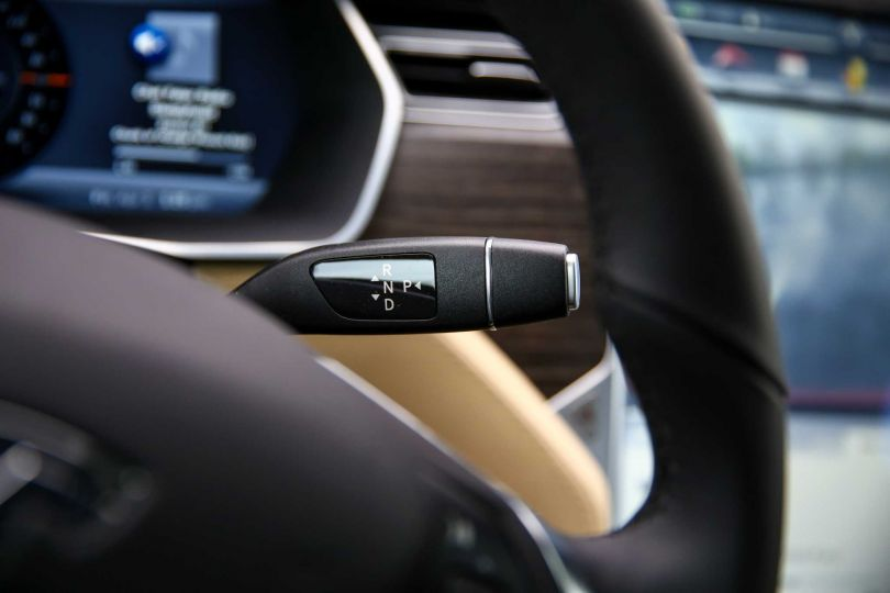 Model S parking button on the end of the shift lever
