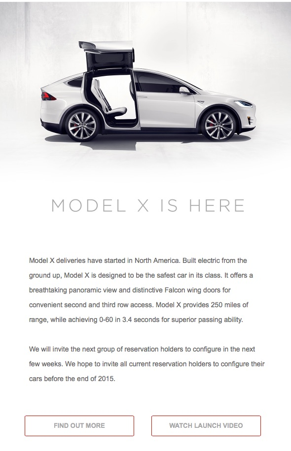 Model X delivery to begin in North America