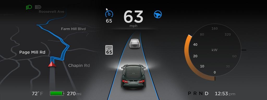 Tesla Autopilot Version 7.0 Dashboard Display [Source: Tesla Motors]