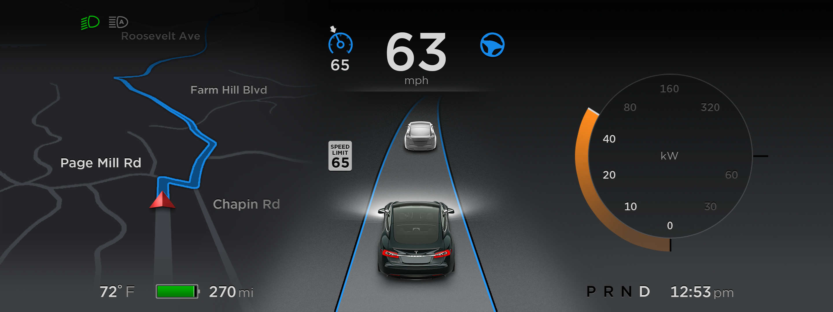 Tesla Autopilot Version 7.0 Dashboard Display [Source: Tesla Motors]