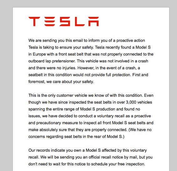 Notice issued for the Tesla seat belt recall