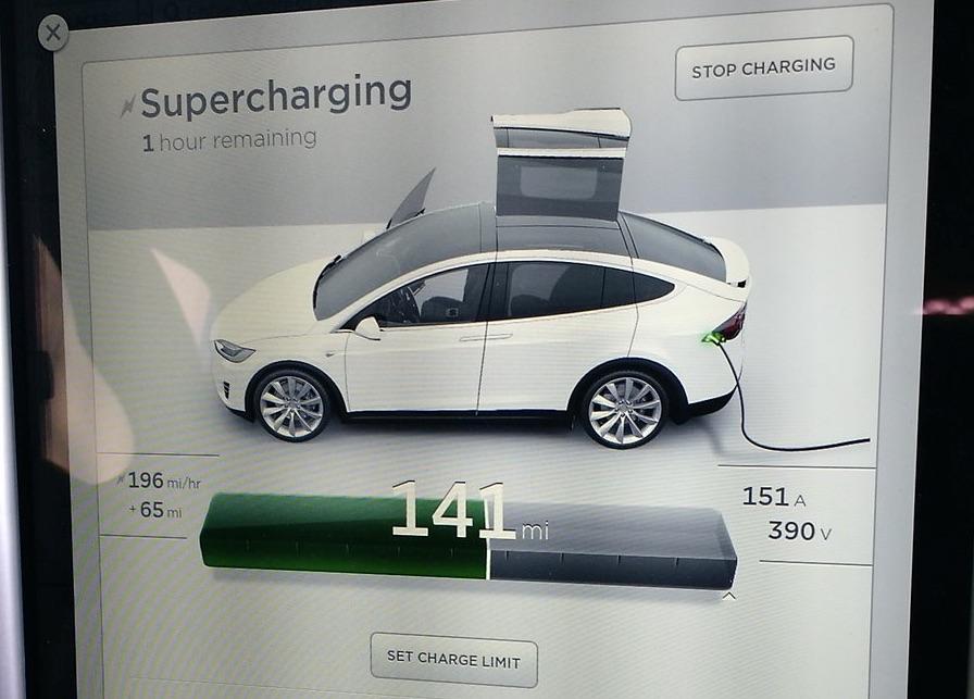 Tesla Model X Touchscreen Supercharger