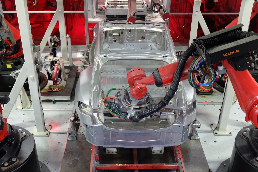 Tesla Kuka Robots Seen on Model X Production Line