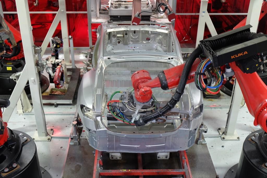 Tesla Kuka Robots Seen on Model X Production Line