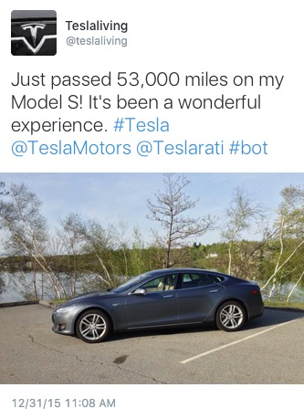 Major Mileage Twet using Tesla Mobile API