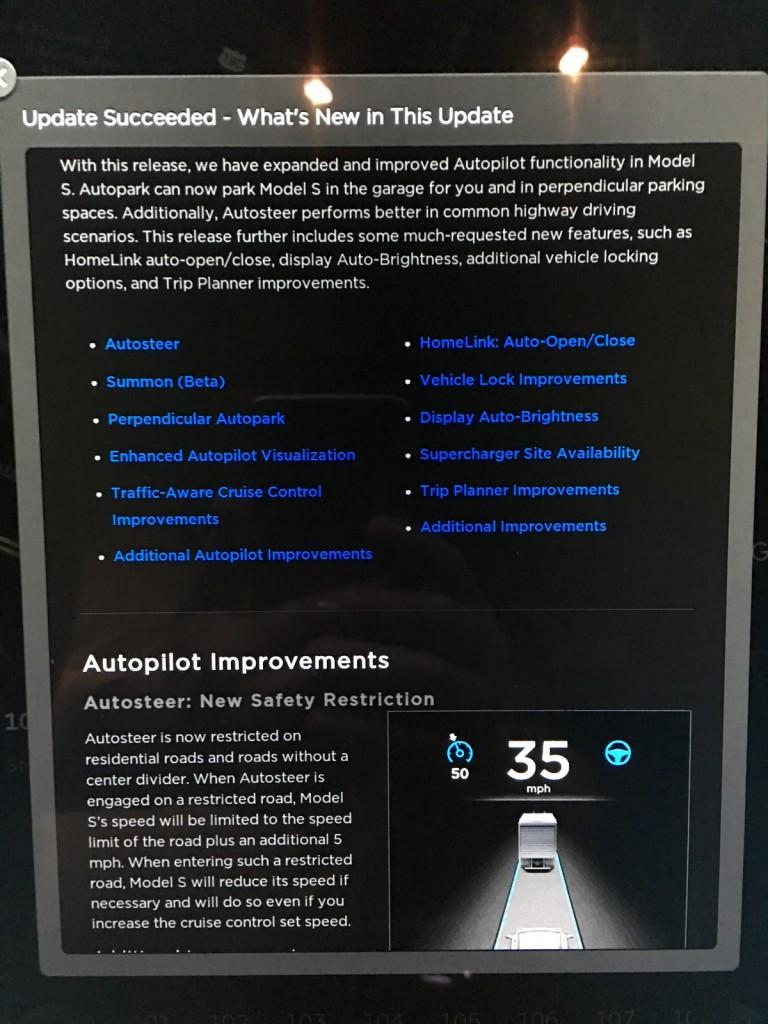 Firmware 7.1 includes Autopilot restrictions