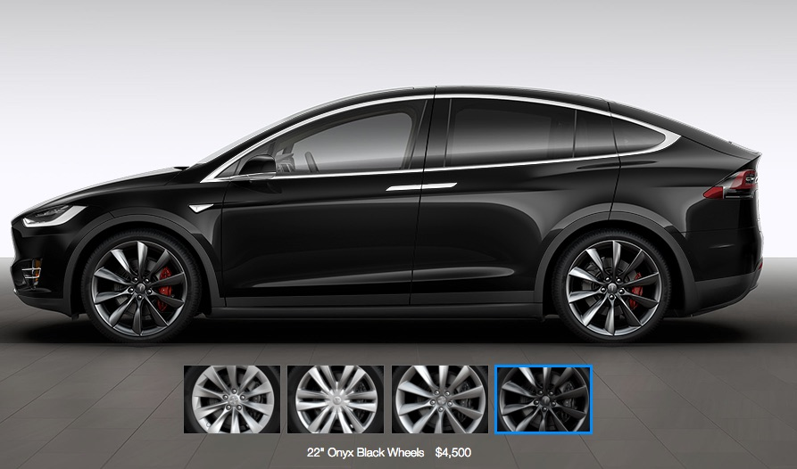 Black Tesla Model X with 22″ Charcoal Turbine Wheels