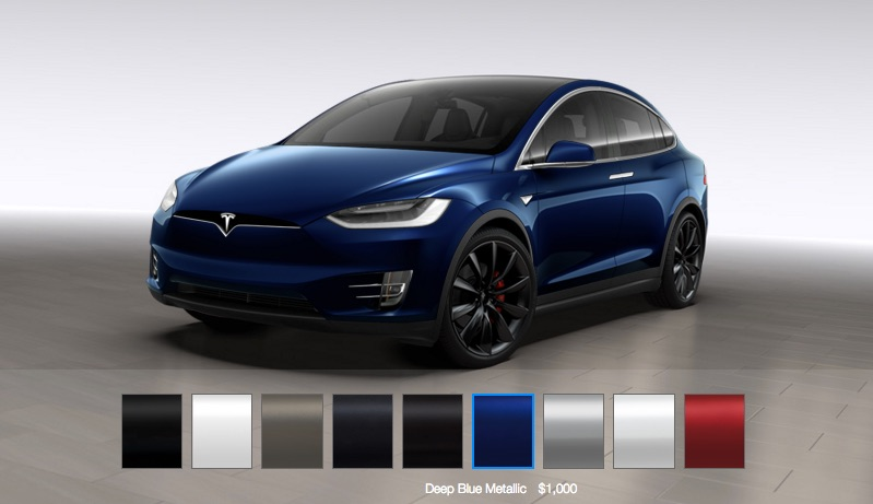 Tesla Model X configuration in blue