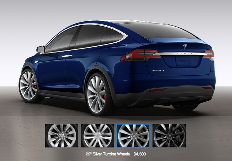 Blue Tesla Model X with 22″ Silver Turbine Wheels