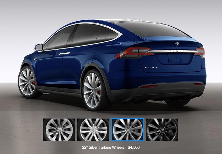 Blue Tesla Model X with 22″ Silver Turbine Wheels