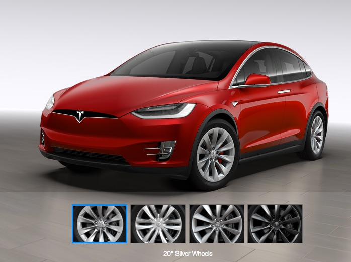 Red Tesla Model X with Silver 20″ Wheels