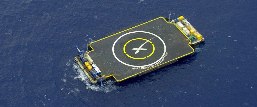 SpaceX drone Ship landing pad at sea
