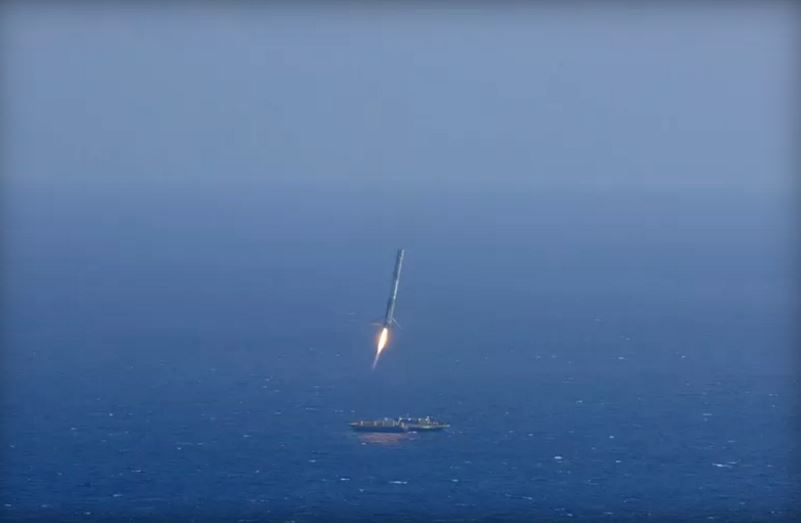 SpaceX rocket landing at sea