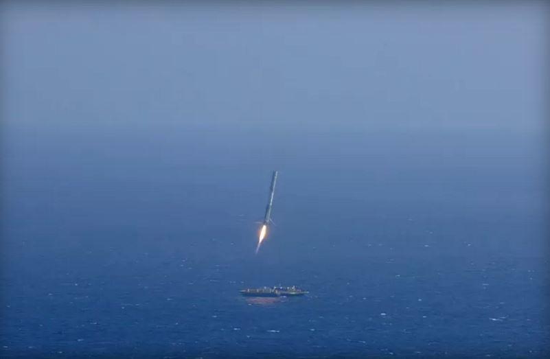 SpaceX rocket landing at sea