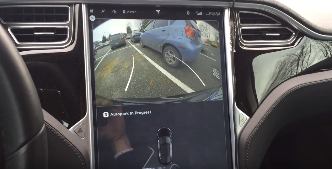 Engaging Tesla Perpendicular Parking