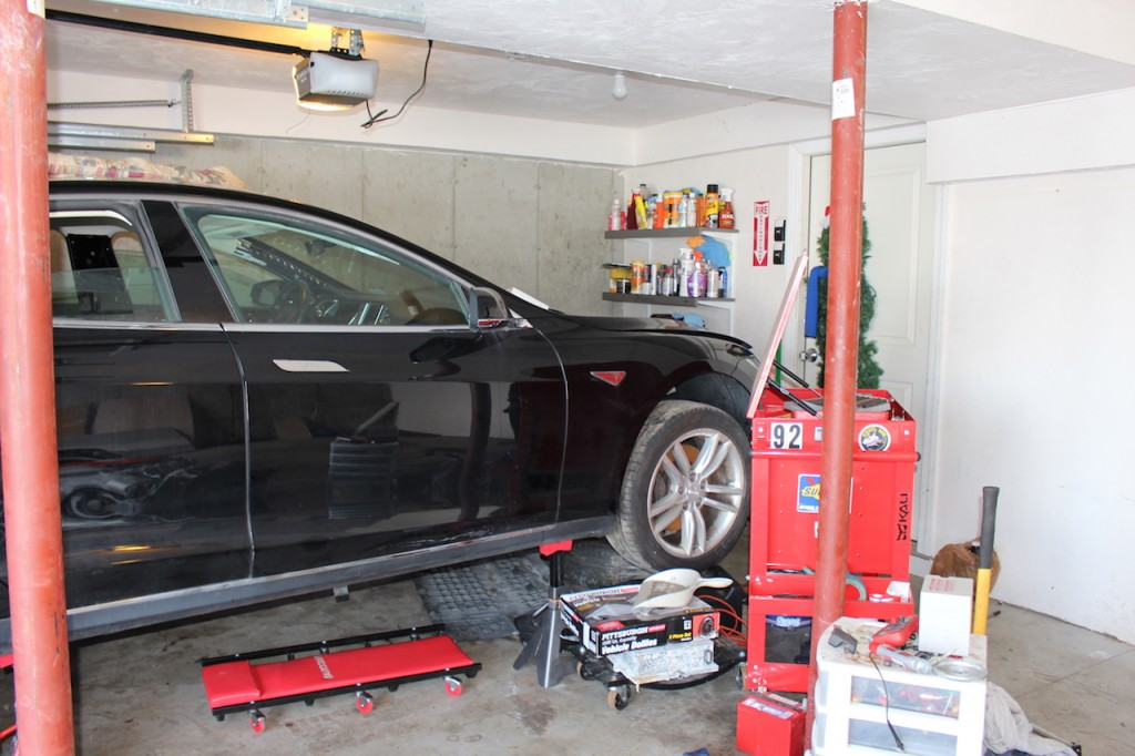 Preparing tools and gear for taking apart the flooded Tesla Model S