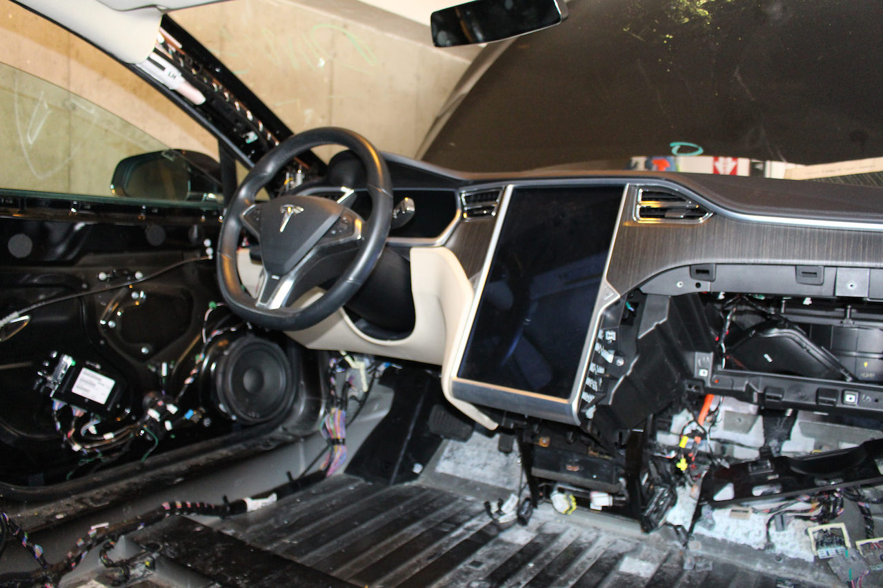 Salvaged-Model-S-Interior-Dismantled