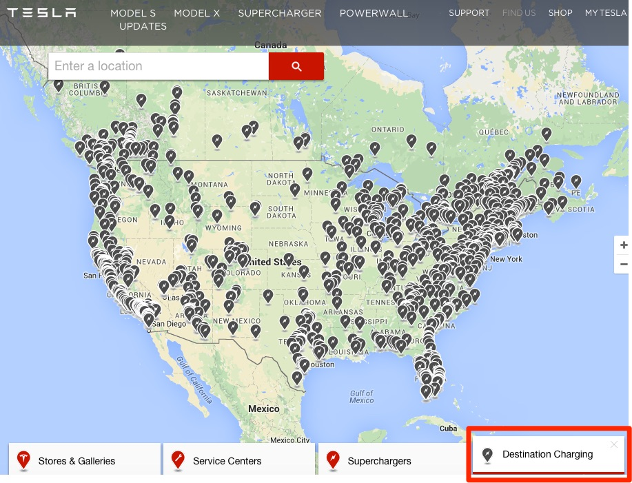 Tesla Destination Charging partners