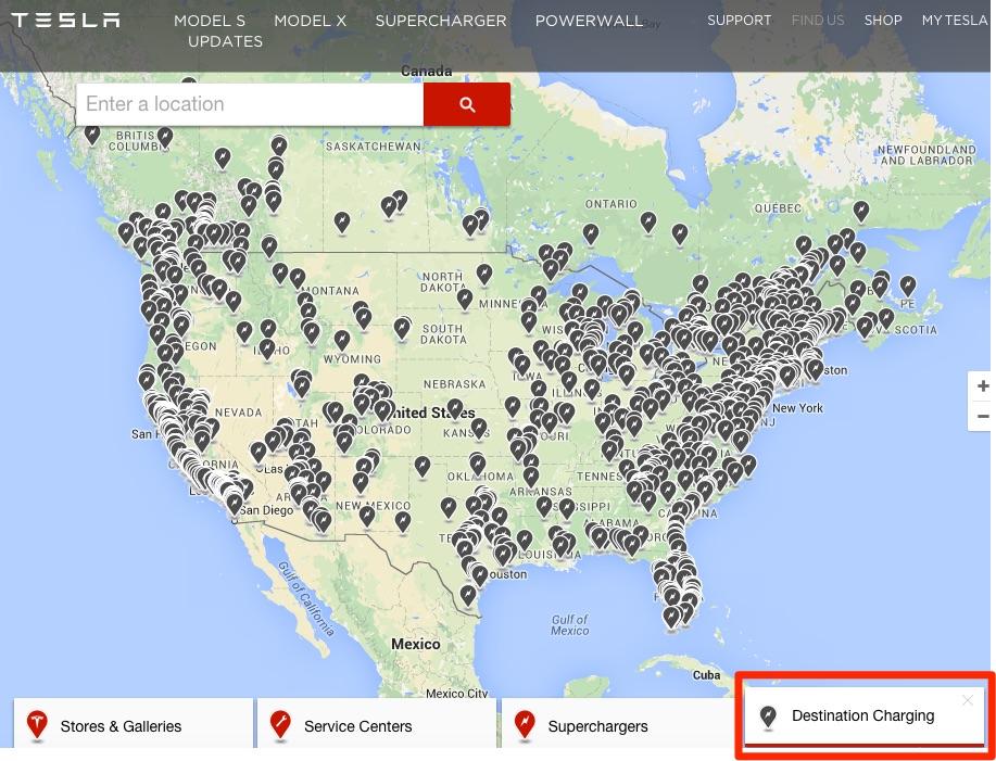 Tesla Destination Charging partners