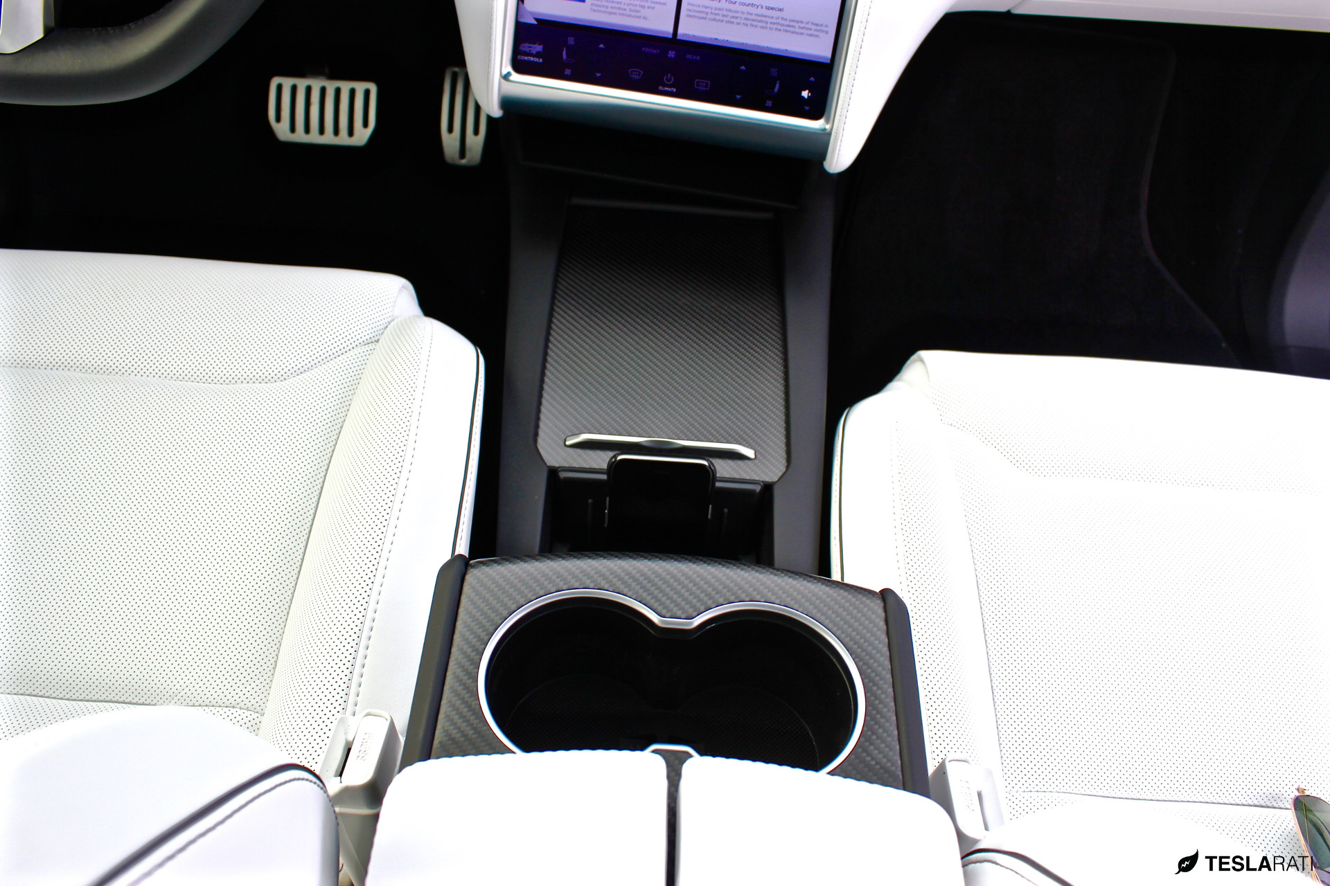 Model X Carbon Fiber Center Console with Cup Holder