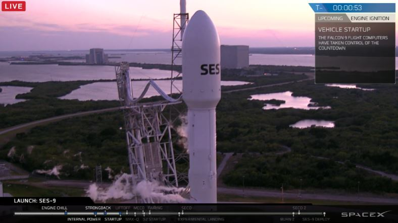 SES 9 atop SpaceX Falcon 9 rocket