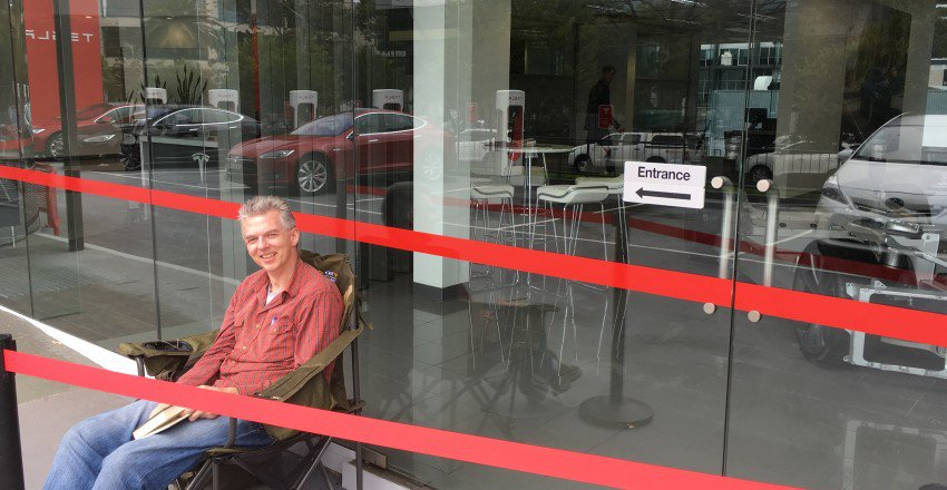 First person in line for Tesla Model 3
