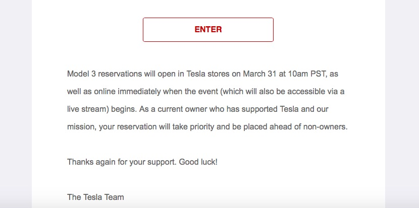 Model 3 unveil event lottery email