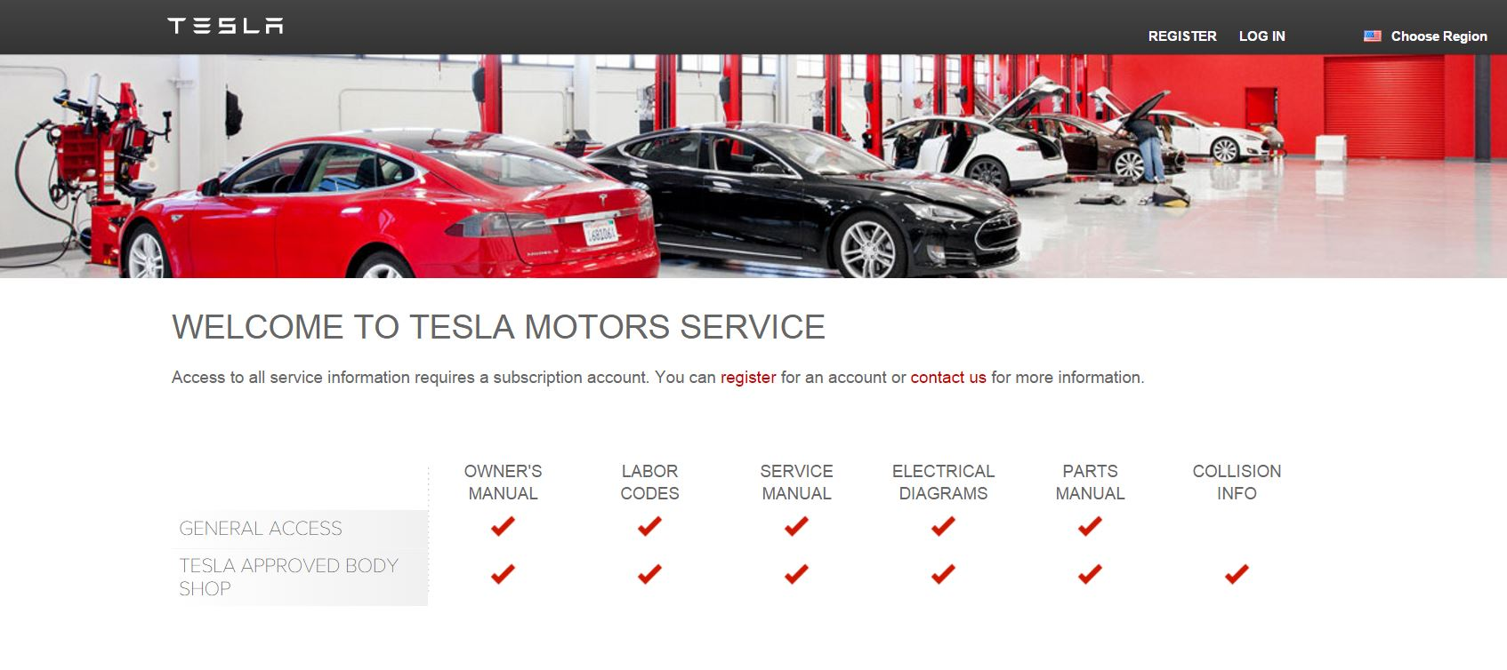 Tesla Service Page