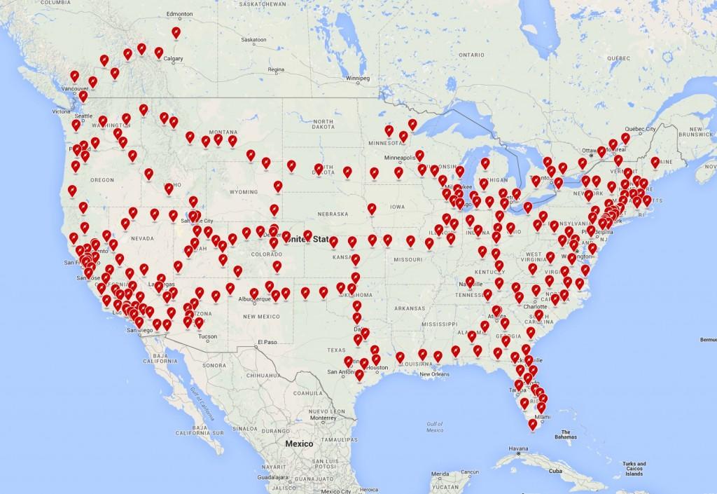 Tesla Supercharger network across North America [Source: Tesla Motors]