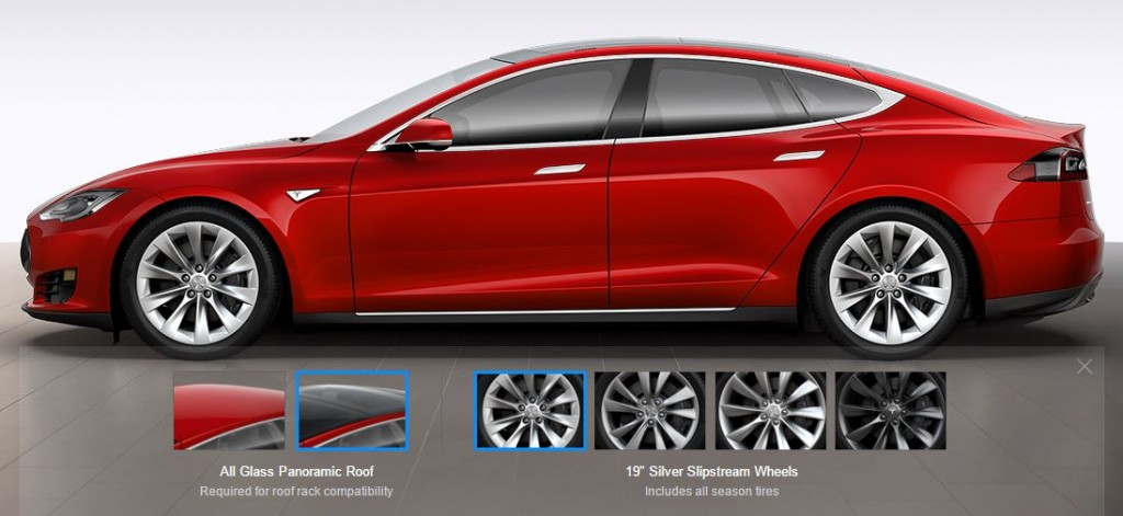 "Tesla 19"" Slipstream Wheels on Red Model S"