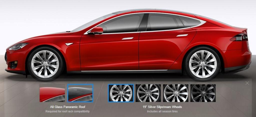"""Tesla 19"""" Slipstream Wheels on Red Model S"""