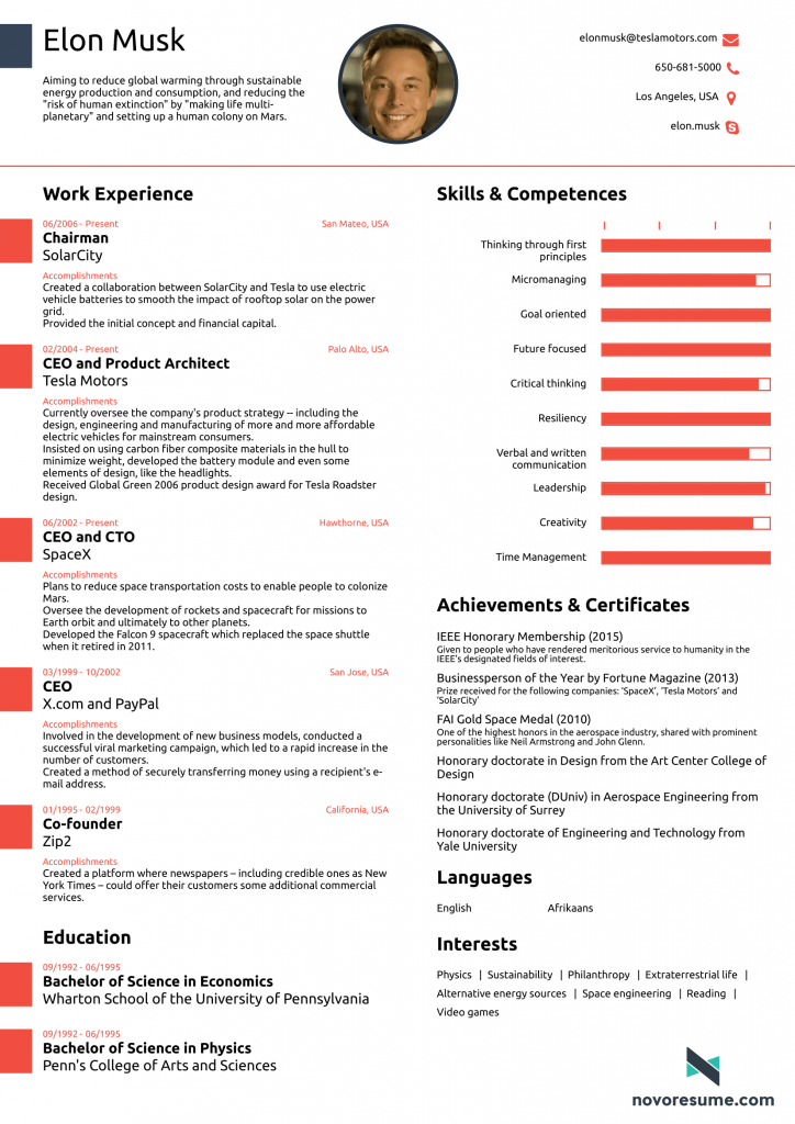 Elon Musk one-page resume by Novoresume