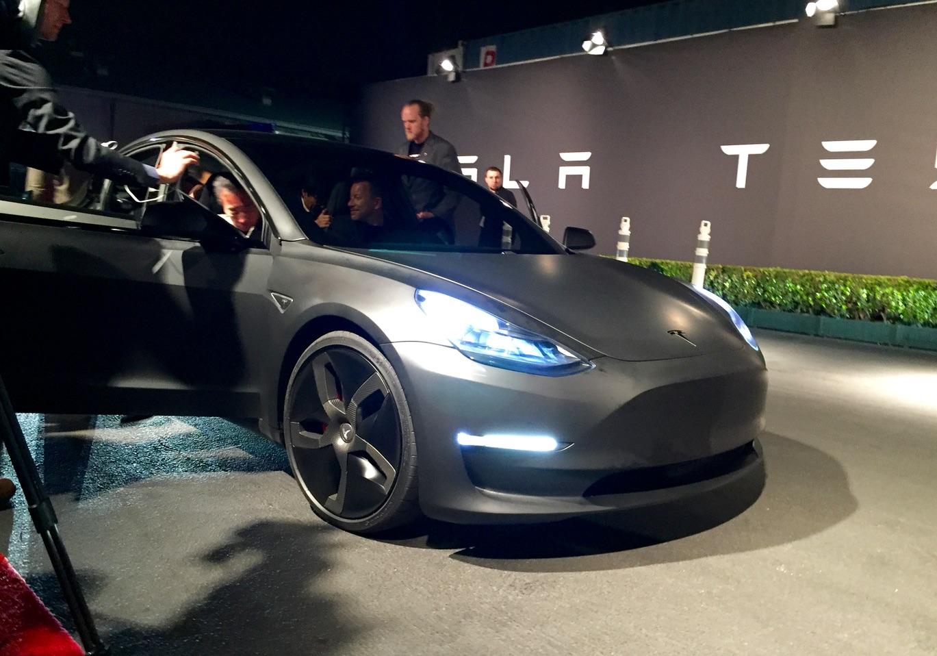 Matte Black Tesla Model 3 Front