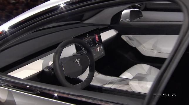 Tesla Model 3 interior with no dash instruments